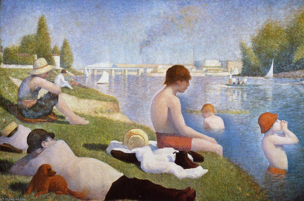 famous painting Bathing at Asnieres of Georges Pierre Seurat
