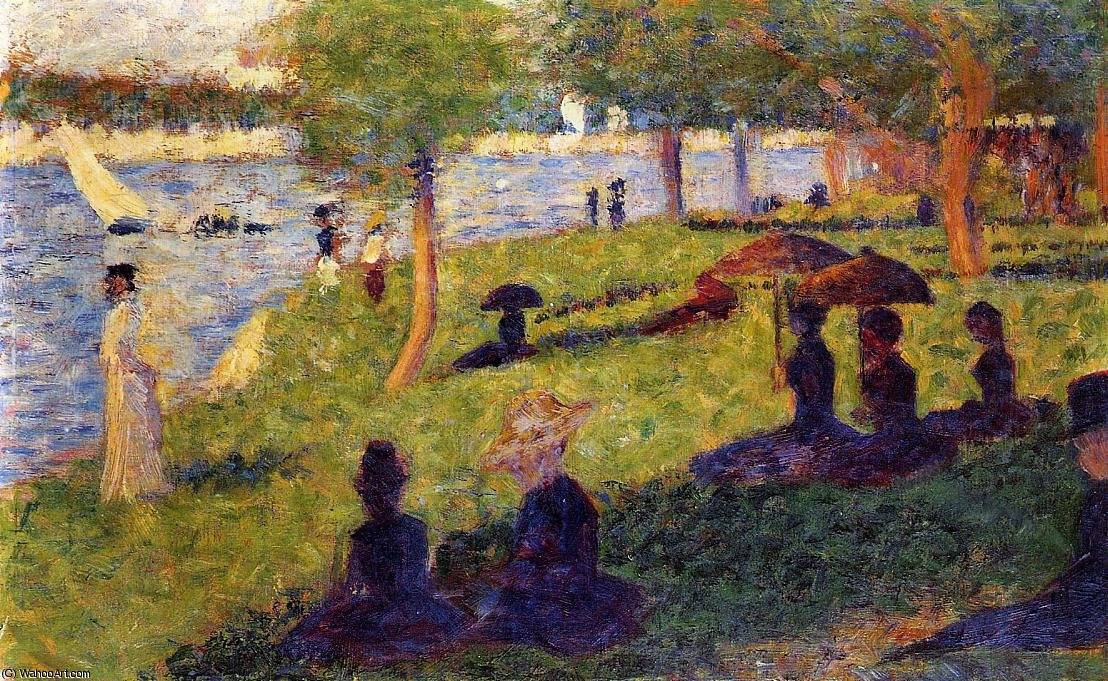famous painting La Grande Jatte - Woman Fishing and Seated Figures of Georges Pierre Seurat