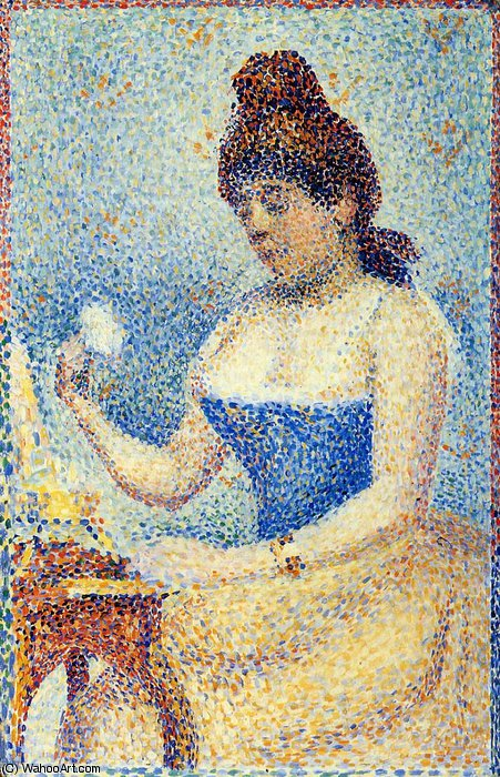 famous painting Young Woman Powdering Herself (Study) of Georges Pierre Seurat