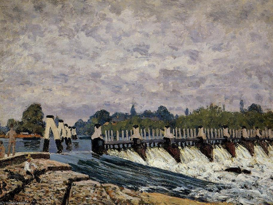 famous painting Molesey weir - morning of Alfred Sisley