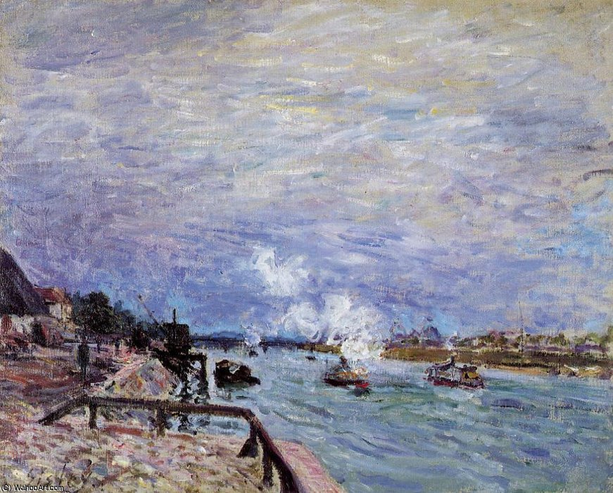 famous painting The Seine at Grenelle - Rainy Weather of Alfred Sisley
