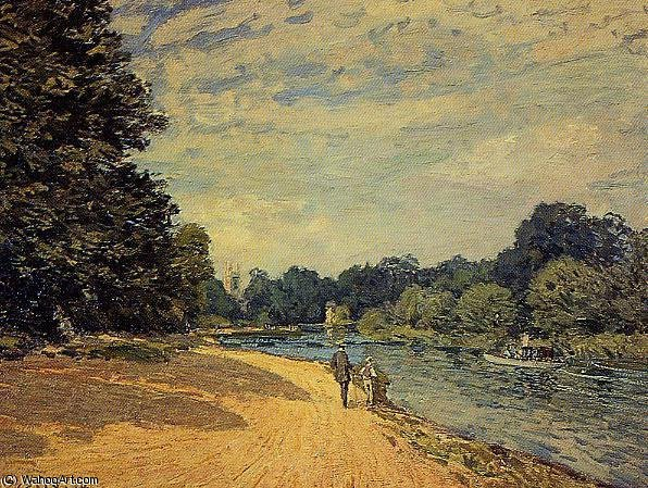 famous painting The Thames with Hampton Court of Alfred Sisley