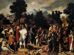 Lucas Van Leyden - Paintings-Christ Healing the Blind