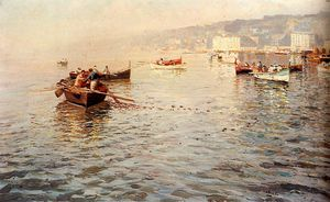 Attilio Pratella - Fishing vessels off a coast