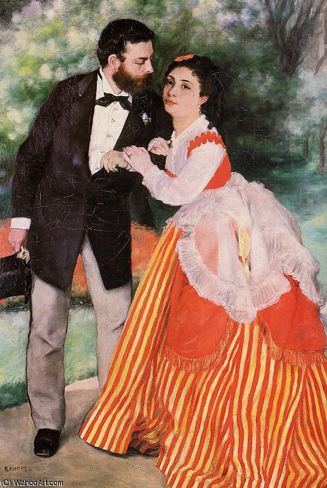 famous painting Alfred Sisley with His Wife of Pierre-Auguste Renoir