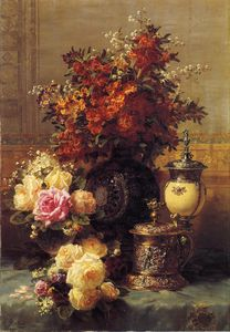 Jean Baptiste Robie - Still Life of Roses and Other Flowers - a Silver-gilt Ostrich....Table in an Interior