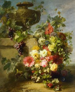 Jean Baptiste Robie - Still Life of Roses - Morning Glories - Chrysanthemums - Forget....Ledge in a Landscape
