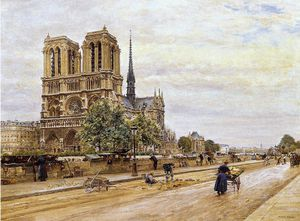Marie Francois Firmin-Girard - Notre dame de Paris and the Flower Market