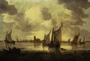 Abraham Hendriksz Van Beijeren - Dutch kaags and other shipping in calm seas, a view of dordrecht beyond