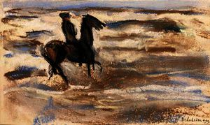 Max Liebermann - A rider on the beach