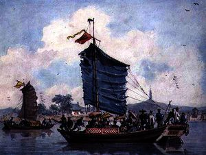 Alexander William - Chinese river scene with Junks under sail