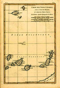 Rigobert Bonne (Charles Marie Rigobert Bonne) - The Canary Islands, with Madeira and Porto Santo, from 'Atlas de Toutes les Parties Connues du Globe