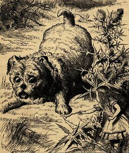 John Tenniel - Alice shrinks and meets the puppy