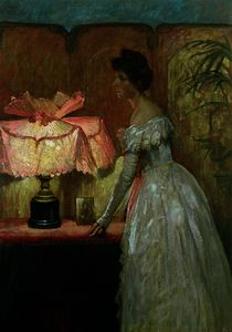 Frank Dicksee - Lamplight Study of Interior with Lady