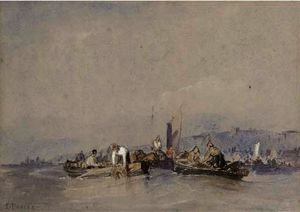 Edward Duncan - Fishermen hauling in their nets off whitby