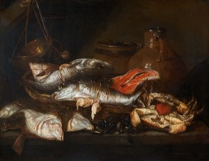 Abraham Hendriksz Van Beijeren - Still life with Fish (17th century) (71.4 x 92.4) (Philadelphia Museum of Art)