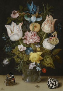 Ambrosius Bosschaert The Elder - Bouquet of flowers in a glass vase (1612) (Amsterdam, Bijbels Museum)