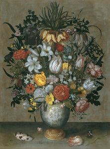 Ambrosius Bosschaert The Elder - Chinese vase with flowers (about (68,6 x 50,8) (Madrid) (1609))