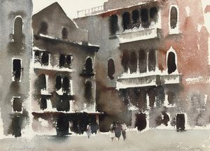 Edward Seago - A Square in Venice