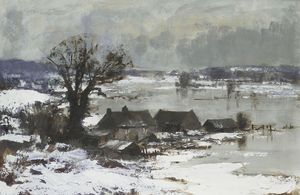 Edward Seago - Snow and Flood Water, the Waveney Valley