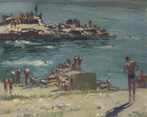 Edward Seago - Soldiers Bathing at Duino, Portugal