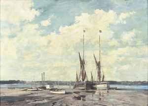 Edward Seago - The `Millie` and the `Salcote Belle` at Pin Mill