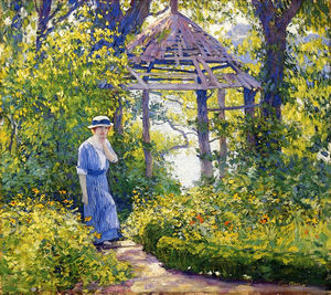 Guy Rose - Girl in a Wickford Garden, New England