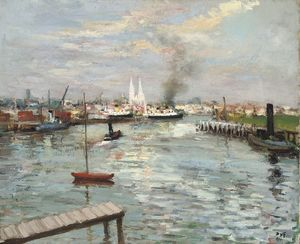 Marcel Dyf - Port and Cathedral at Rouen, (1960)