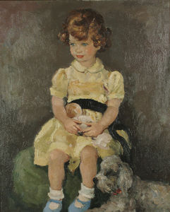 Marcel Dyf - Portrait of a Seated Girl with a Dog, (1965)