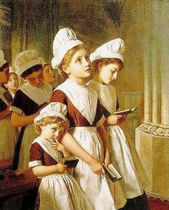 Sophie Gengembre Anderson - Young Girls at Prayer in the Chapel