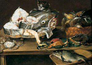 Alexander Adriaenssen - Still Life with Fish and a Cat