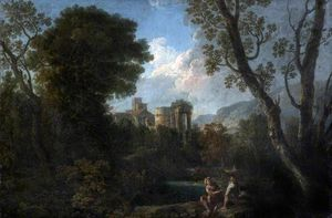 Andrea Locatelli - Classical Landscape with Ruins and Figures