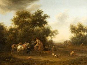 Barend Gael Or Gaal - Horsemen Halted in a Wood