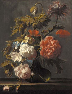 Cornelis Kick - Tulips, roses, peonies, poppies and other flowers in a glass vase on a ledge