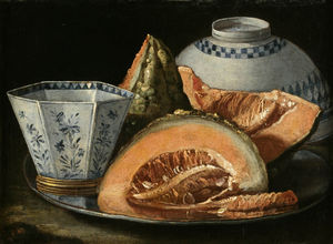 Cristoforo Munari - A Still-Life with Melon, an octagonal blue and white cup on a Silver Charger