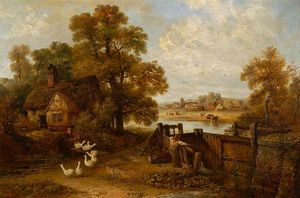Edward Robert Smythe - Suffolk Scene, a Cottage and Some Geese