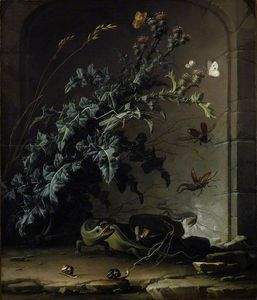 Elias Van Den Broeck - Stone Niche with Thistle, Lizard and Insects