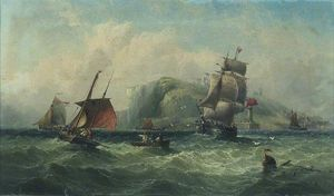 Henry Redmore - Coast Scene, Whitby, North Yorkshire, Vessel Leaving the Harbour