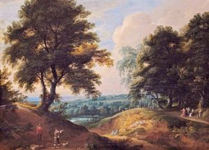 Jacques D' Arthois - Landscape with a Huntsman