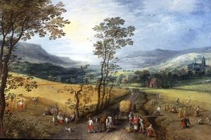 Jan De Momper - A Summer Landscape with Harvesters