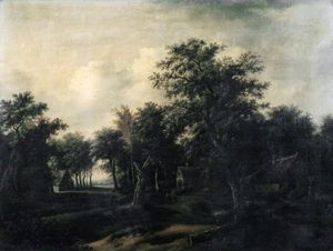 Jan Jansz Wijnants - Forest Scene, Cottage and Figures