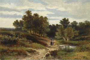 Johannes Warnardus Bilders - Figures in a wooded landscape near oosterbeek