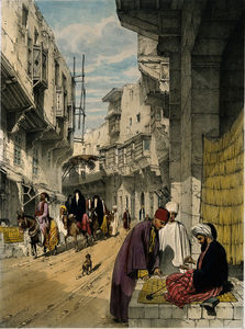 John Cooke Bourne - A street scene in Cairo with a street seller at work