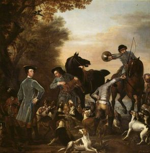 John Wootton - Viscount Weymouth's Hunt Thomas, 2nd Viscount Weymouth, with a Black Page and other Huntsmen at the Kill