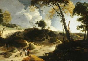 Lodewijk De Vadder - Landscape with Figures and Haymakers