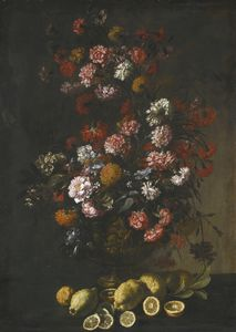 Mario Dei Fiori - Still life of flowers in a bronze urn, lemons on the ledge beneath