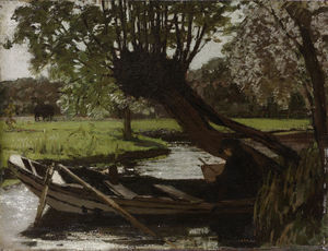 Matthijs Maris - Boat with willow