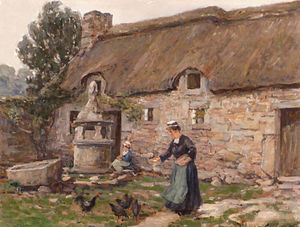 Wilson Henry Irvine - Feeding the Chickens