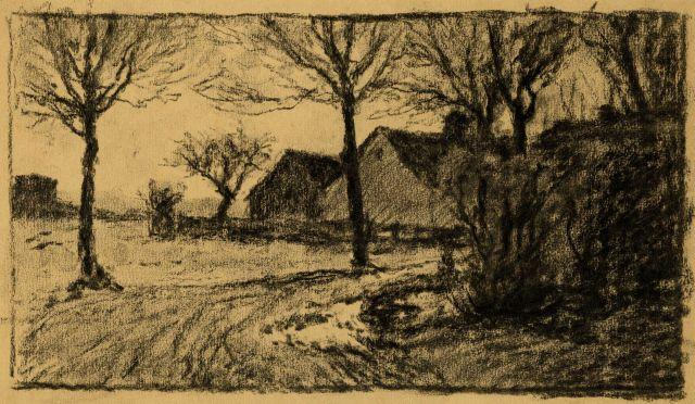 famous painting Untitled drawing of lane and buildings of Theodore Clement Steele