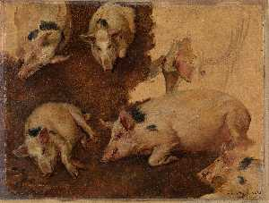 Anders Monsen Askevold - English Study of six Pigs